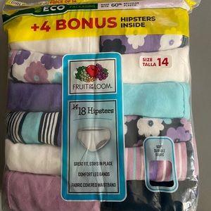 Fruit of the Loom Girls Underwear 18 pack